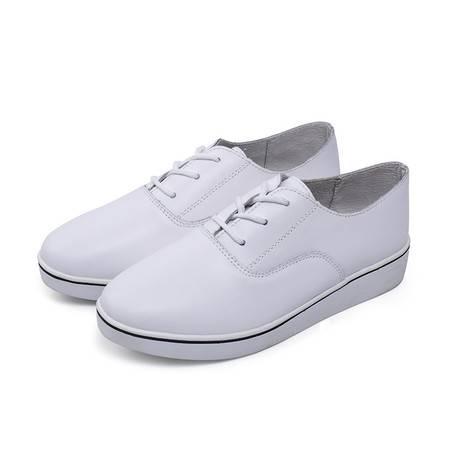 真皮小白鞋系带休闲春鞋女式浅口尖头平底单鞋女鞋 新款潮