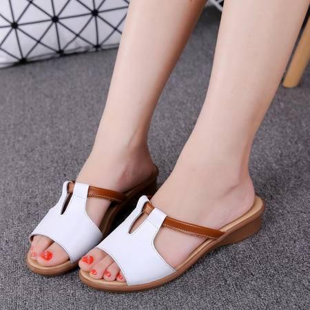 真皮凉拖鞋女夏时尚韩版休闲室外穿一字拖鞋平底百搭