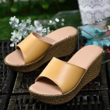 2016年夏季新款真皮女凉拖鞋罗马凉鞋坡跟厚底摇摇鞋休闲时尚女凉