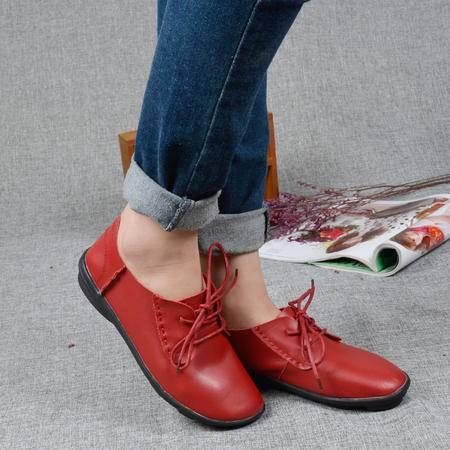 新款真皮平跟单鞋女头层牛皮软底系带休闲深口平底皮鞋潮