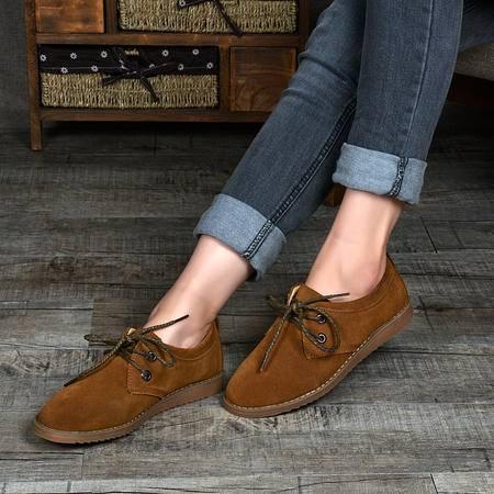 春夏季女式低帮反毛皮大头皮鞋 磨砂皮面英伦圆头休闲鞋单鞋 女鞋