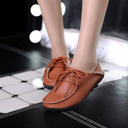春季真皮单鞋 内增高厚底单鞋女乐福鞋平底休闲鞋