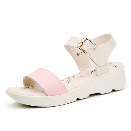 2016新款夏季真皮坡跟厚底中跟凉鞋女欧美平跟软底防水台平底女鞋