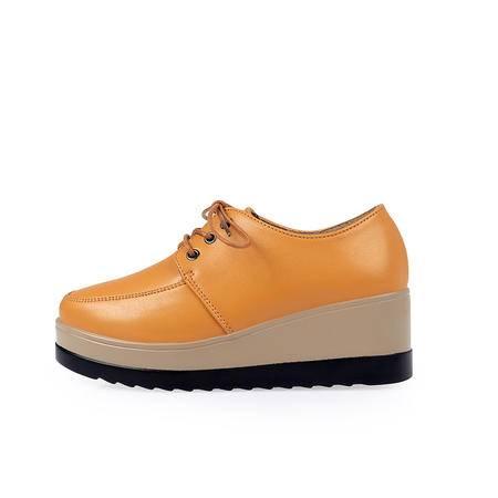 英伦皮鞋女鞋高跟防水台 坡跟单鞋圆头新款松糕鞋女春2016 厚底潮