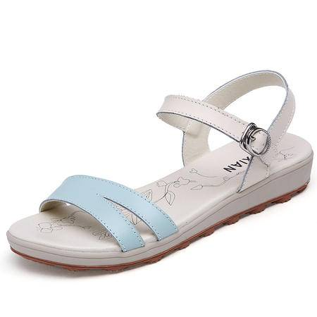 2016新款甜美女凉鞋休闲韩版搭扣拖鞋显瘦平底女鞋