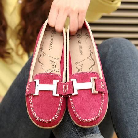秋季新款单鞋女鞋平底豆豆鞋磨砂皮女鞋司机鞋