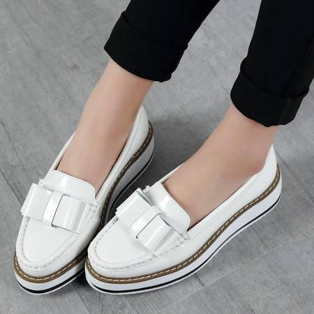 2016春夏韩版鞋漆皮光面蝴蝶结潮女鞋厚底坡跟鞋松糕底深口休闲鞋女