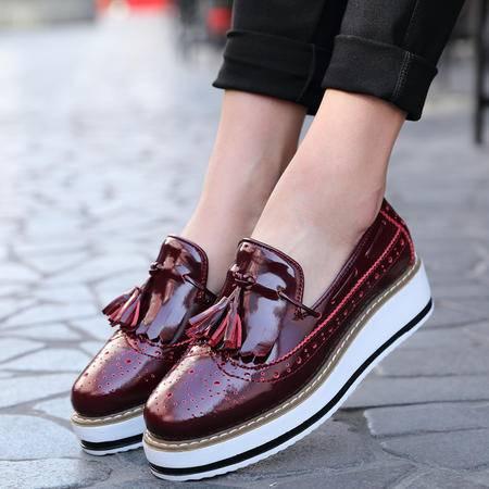英伦布洛克女鞋 松糕底复古流苏单鞋皮鞋厚底鞋女鞋子