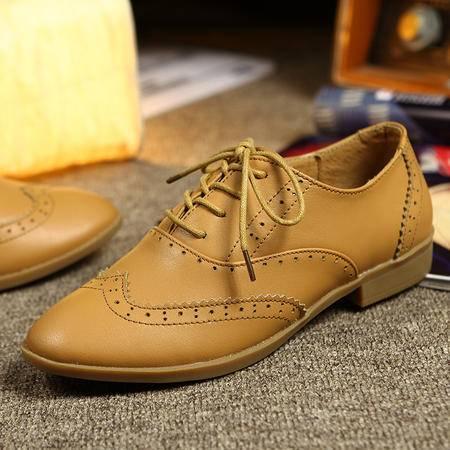 2016布洛克雕花女皮鞋英伦复古尖头单鞋浅口系带低跟真皮方跟鞋子