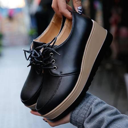 乐福鞋 新款韩版厚底你内增高纯色防滑中口低跟松糕底学院女鞋