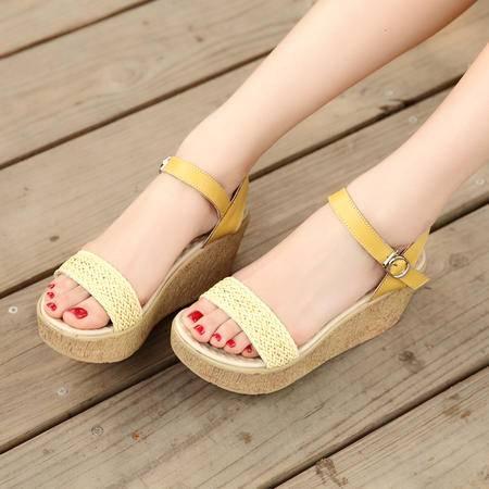 夏季新款女鞋防水台女凉鞋坡跟平底松糕鞋中跟潮女时尚罗马鞋