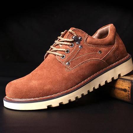 男鞋真皮男士休闲鞋 反绒皮日常低帮系带单鞋工装鞋