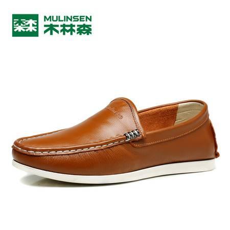 木林森夏季男士豆豆鞋真皮英伦休闲皮鞋男套脚男鞋驾车鞋帆船鞋子