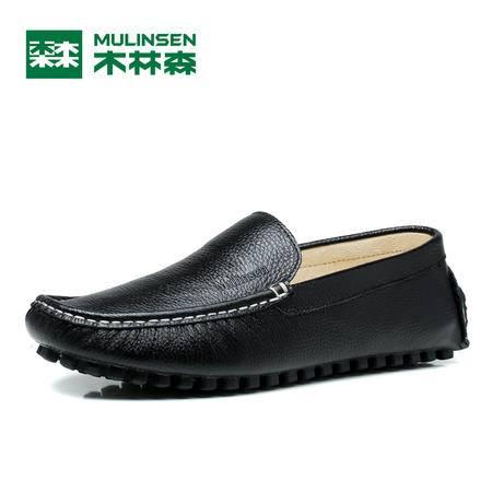 木林森四季时尚柔软贴脚透气头层牛皮豆豆鞋休闲鞋缝制皮鞋男鞋