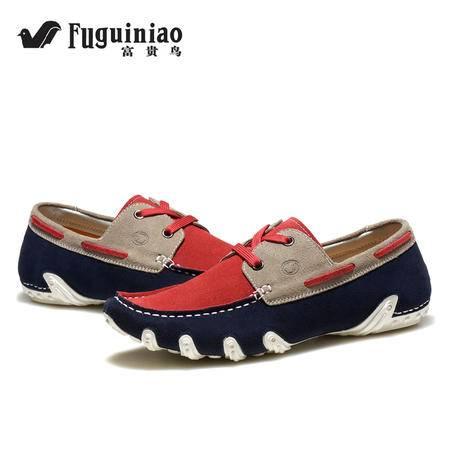 富贵鸟男鞋夏季户外休闲鞋真皮磨砂皮鞋男士英伦正品系带工装鞋潮