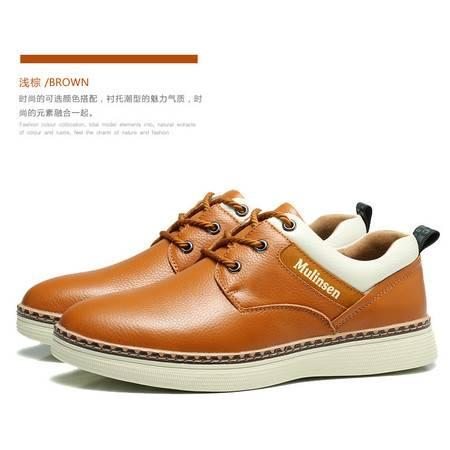 木林森男鞋冬季真皮休闲皮鞋韩版潮男士板鞋软面皮系带青年鞋子