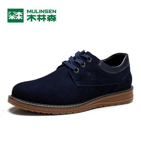 木林森2106全年款复古简约皮质内里手工纯色时尚百搭男皮鞋休闲鞋