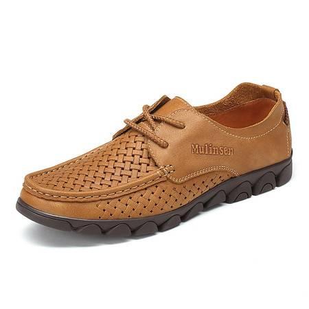 木林森男鞋春夏季男士休闲鞋男真皮英伦商务镂空皮鞋透气鞋子潮鞋
