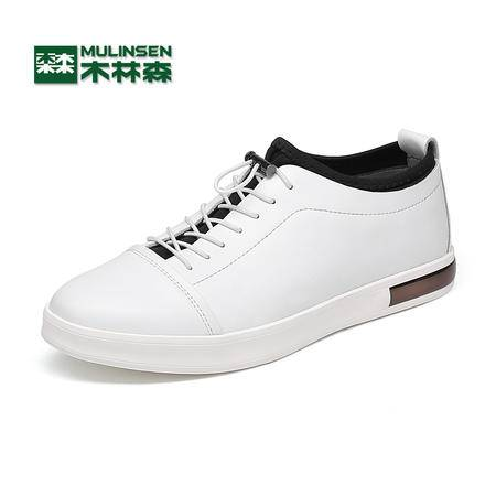 木林森夏季男鞋韩版男士休闲鞋皮鞋小白鞋男真皮运动板鞋潮鞋子男