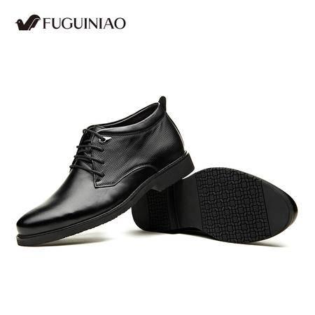 富贵鸟男鞋冬季真皮加绒高帮男士短靴子棉鞋休闲保暖商务正装皮鞋