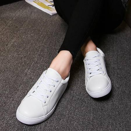 秋款小白鞋女2016新款系带韩版休闲鞋英伦皮面松糕底板鞋百搭学生
