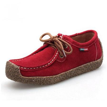妈妈鞋 女韩版新款休闲平跟单鞋 女鞋浅口鞋真皮平底女磨砂蜗牛鞋