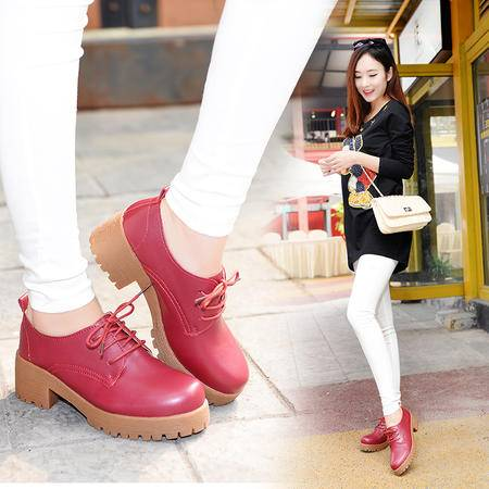 春秋系带真皮单鞋粗跟中跟职业英伦女鞋学生厚底增高小皮鞋短靴潮