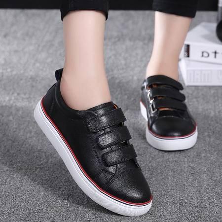 韩版夏季新款真皮魔术贴小白鞋女浅口平底休闲百搭板鞋学生鞋单鞋
