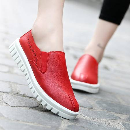 2016年秋季韩版学生女鞋厚底单鞋超纤皮松糕鞋懒人单鞋休闲鞋子