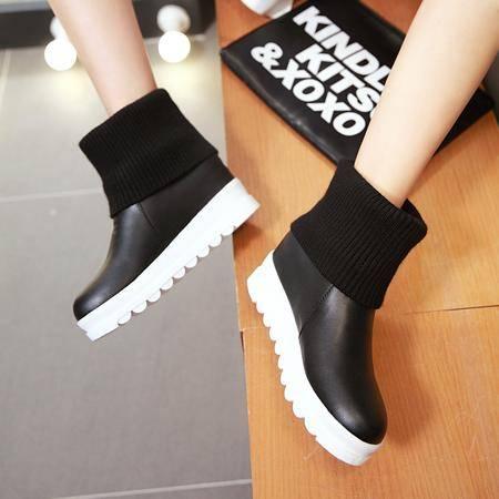 2016秋季新款欧美女鞋马丁靴短筒侧拉链短靴胶粘鞋人造短毛绒靴子