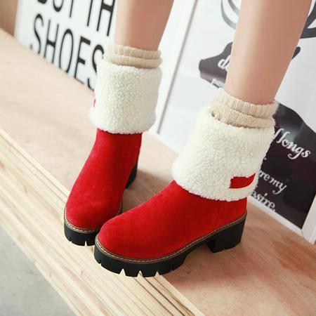 复古短靴加绒加厚保暖雪地靴2016冬季新款女靴粗跟中跟学院风靴子