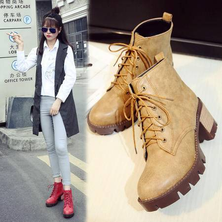 短靴女春秋单靴英伦粗跟马丁靴女圆头系带复古小皮靴防水台短筒靴