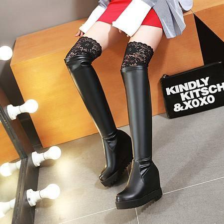2016年秋冬日韩时尚新款性感蕾丝百搭简约内增高过膝靴骑士靴