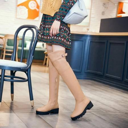 欧美街拍秋冬季新款2016女中跟长筒侧拉链骑士靴长靴子潮过膝女靴