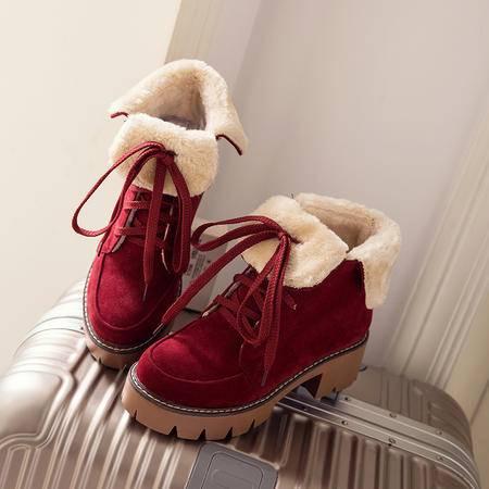 纯手工两穿马丁靴英伦复古短靴2016冬季保暖棉靴中跟粗跟系带女靴