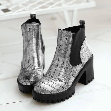 2016秋冬新款圆头短靴防水台舒适粗跟松紧欧美马丁靴气质黑色短靴