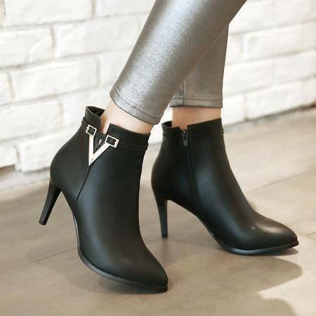 2016冬季新款欧美女鞋短筒侧拉链细跟浅口尖头高跟低帮鞋