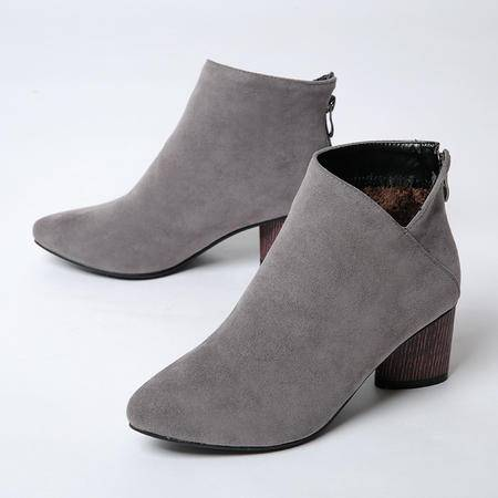 韩版磨砂高跟短靴女粗跟裸靴女秋2016新款尖头马丁靴女鞋靴子