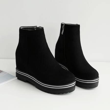 英伦风2016秋季新款女靴短筒马丁靴粗跟高跟短靴女鞋