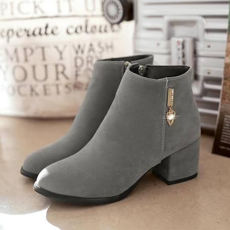 英伦风磨砂粗跟短靴女春秋单靴2016冬季新款中跟及踝靴马丁靴女鞋