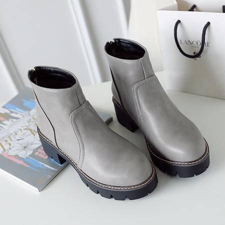 2016年秋季欧美时尚街头潮款女鞋舒适休闲女靴粗跟短筒靴