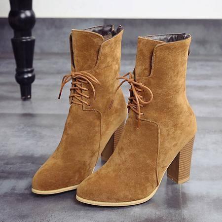 2016秋冬新款短靴女韩版时尚尖头高跟短筒靴女纯色系带马丁靴女