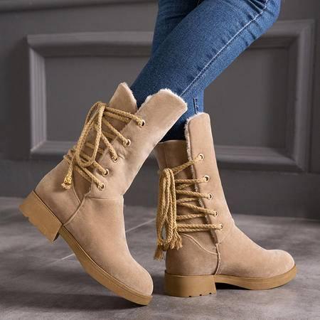 冬季雪地靴舒适百搭后系带加绒毛里中筒靴磨砂防滑粗跟冬靴女