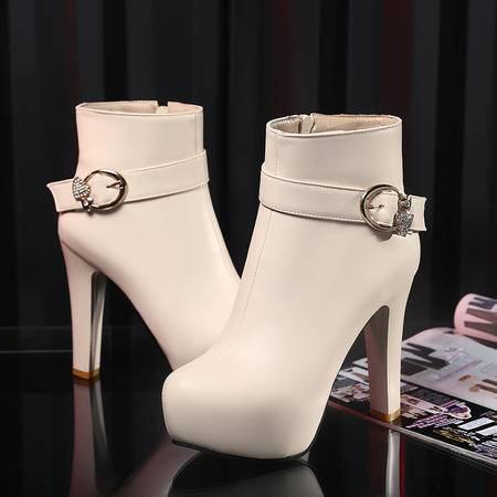 春秋新款英伦风高跟马丁靴女粗跟防水台测拉链短靴圆头皮带扣女靴