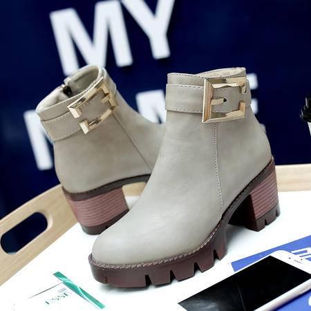 复古英伦圆头粗跟短筒马丁靴侧拉链防水台高跟短靴女休闲学生靴子