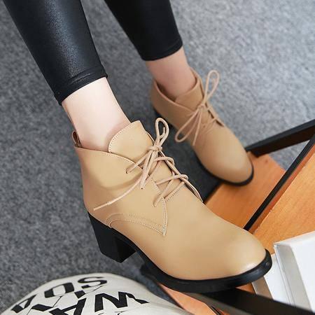 2016秋冬季靴子女靴粗跟短靴马丁靴英伦复古短筒女潮靴系带短筒靴