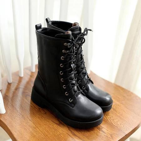 2016新款女鞋欧美黑色大码系带马丁靴女厚底短靴春秋单靴骑士靴