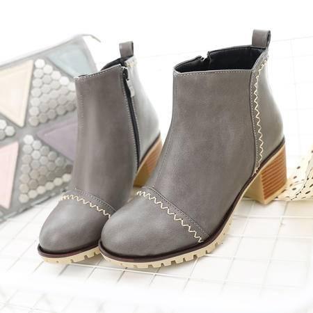 韩版马丁靴潮女短靴子春秋单靴女靴粗跟圆头皮鞋学生中跟裸靴女鞋