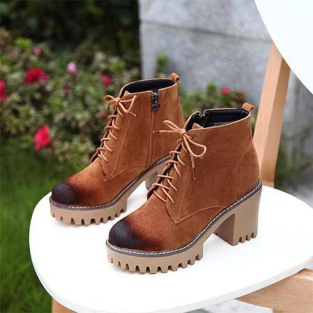 2016秋冬棕色磨砂擦色圆头系带短靴女防水台高跟粗跟马丁靴侧拉链