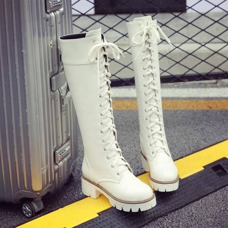 2016韩版粗跟系带马丁靴 防滑圆头秋冬机车靴大码白色跳舞高筒靴
